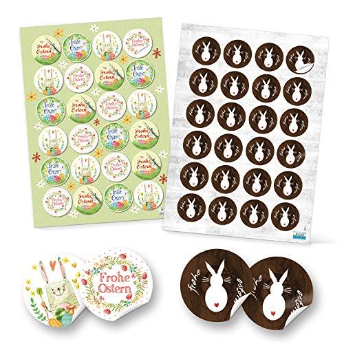 Logbuch-Verlag Lot de 48 autocollants « Joyeuses Pâques » - Décoration de Pâques multicolore - Autocollants ronds - Emballage cadeau pour enfants - Vert, jaune, rose, marron, blanc