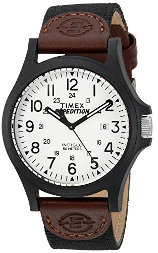 Timex Men's Expedition Acadia Quartz Analog Watch with Fabric Strap, Brown, 20 (Model: TW4B08200)