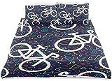 Zozun Juego de Funda nórdica Bicicleta Retro Patrón sin Costuras Contorno de Bicicleta Juego de Cama Decorativo de 3 Piezas con 2 Fundas de Almohada