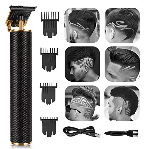 Hair Clippers for Men, Electric Hair Clippers Cordless Rechargeable Grooming Kits T-Blade Close Cutting Trimmer for Men 0mm Zero Gap Bald Head Clippers, Hair Trimmer for Men (Black)