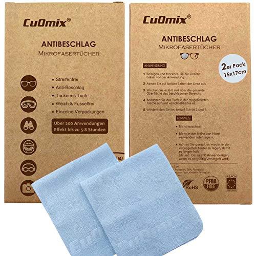 CuOmix Antibeschlagtuch Microfaser Brillentuch | wiederverwendbar trockenes Reinigungs | Tuch für Brillen, Visiere, Bildschirme -15x17 cm (2er Pack)