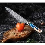 Vegetal acero de Damasco japonesa cocinero Cuchillo de pelado de la fruta de la manija del cuchillo de cocina resina azul del color de madera cocina la herramienta