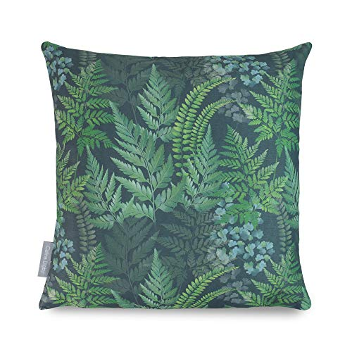 Celina Digby Waterproof Garden Cushion Designer Outdoor Pillow Generously Filled Hollow Fibre. Green. Square. Size 43x43cm, 17'x17' (D. Ferns)