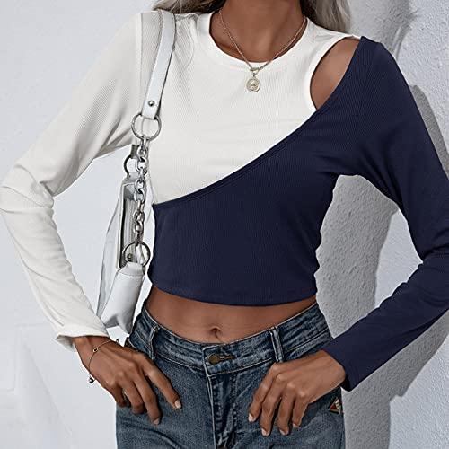 PKYGXZ Camisetas Ajustadas de Manga Larga y Corta para Mujer Blusas con túnica de Colores con Costura Blusas...