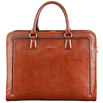 Banuce Full Grains Italian Leather Briefcase for Women Handbags 14 Laptop Business Bags Attache Case Satchel Purses Ladies Work Bag Brown