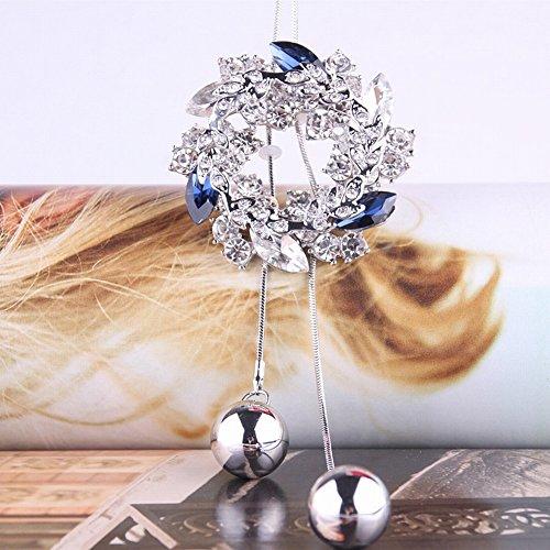 Kristallen Kettingen voor Vrouwen lange Jurk Accessoires Band Fringed Sweater Chain, wit & blauw