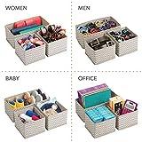 mDesign 6er-Set Stoffbox für Schrank oder Schublade – die ideale Aufbewahrungsbox für Wäsche, Gürtel, Accessoires etc. – flexibel verwendbare Stoffkiste mit Zick-Zack-Muster – beige - 6