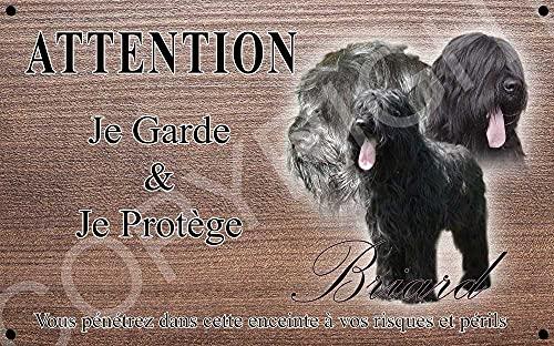 Pets-Easy.com Panneau Attention au Chien personnalisée Briard - pré perforée et vis comprises. De 30 cm à 15 cm…