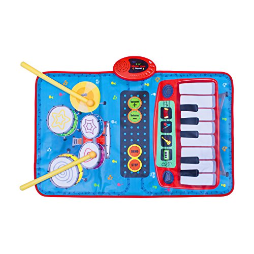 Global Gizmos 50770 Twin Two in One Musical Kinder Play Matte Tastatur und Drum-Kit