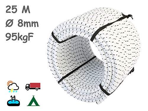 MAGMA Cuerda Elastica 8mm. Monotex Polietileno. Piscinas (Standard NF P 90-308) Toldos Acampadas Exteriores Manualidades Nautica Amarres Escalada Resistente al Agua (25m, Blanco Chiné)