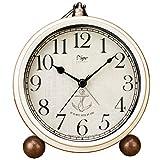 Reloj despertador Justup de 5,2 pulgadas, color blanco, vintage, retro, analógico, de cuarzo, sin tic tac, silencioso, funciona con pilas, cristal HD para dormitorio/salón/niños (blanco)