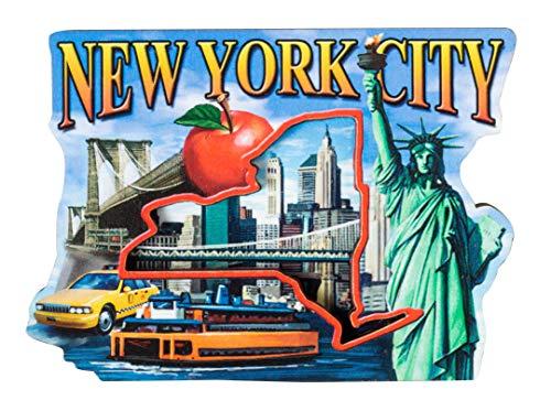 New York City Montage Wood Souvenir Refrigerator Magnet
