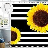 Nobranded Mu-Duo Sonnenblumen-Duschvorhang, Blumenmuster, Stoff, Duschvorhang für Badezimmer, mit 12 Metallhaken, 182,9 x 182,9 cm 72