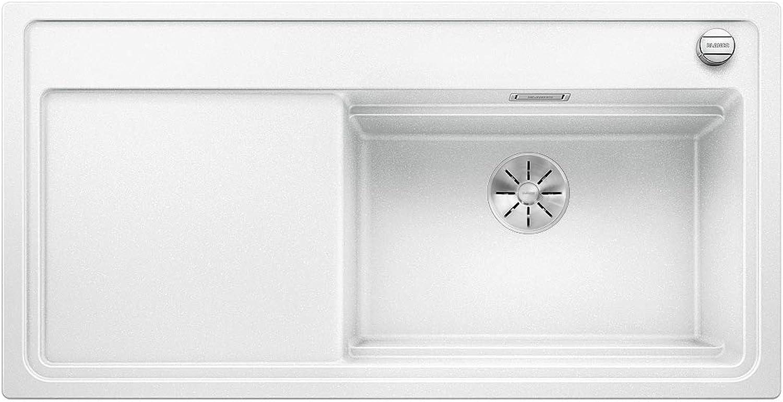 Weiß Zenar XL 6 S DampfgarPlus, Küchenspüle mit 2 Dampfgarbehltern, Compound-Schneidbrett, Infino-Ablaufsystem u Ablauffernbedienung, Becken rechts, Silgranit PuraDur Wei; 524056