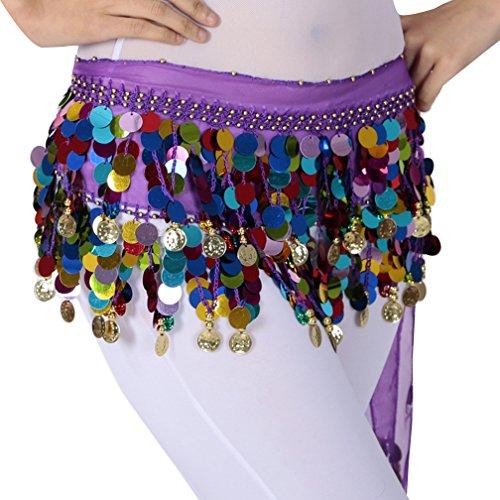 Damen Belly Dance Bauchtanz Kostüm Hüfttuch Münzgürtel Kostüm Hüfttuch Gürtel Chiffonrock Tanzrock One Size QC Violett