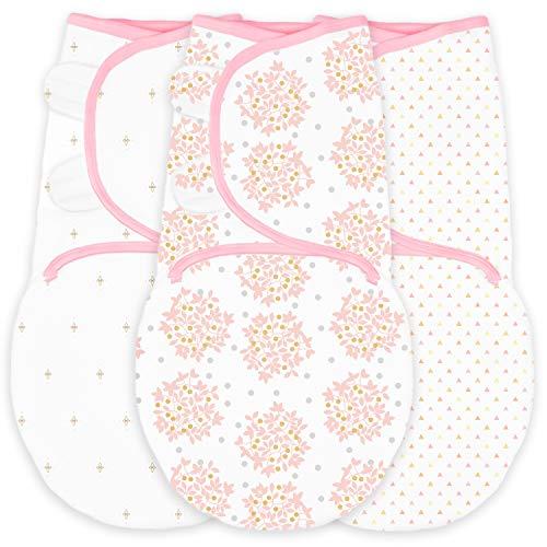 SwaddleDesigns Swaddle Blanket with Adjustable Wrap Set of 3 Heavenly Floral Pink