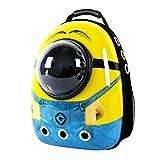 here&there宇宙船カプセル ペットバッグ 猫犬兼用 リュック ペット用品 ペットキャリー お出掛け用品 中小型ペット用 pcリュック (32 * 26 * 40cm, イエロー)