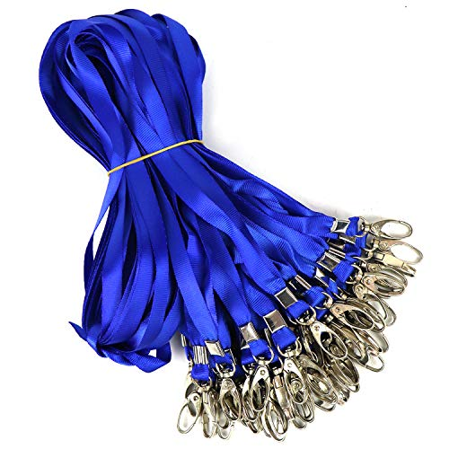 100 Pack Blue Lanyards Flat Bulk Lanyard for ID Badge Neck Straps Nylon Cruise Lanyard Swivel Hook Clips for Employees and Students Office Business ID Card Name Tags and Badge Holders