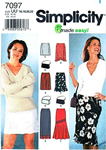 Simplicity Schnittmuster 7097Schnittmuster Größe 16–22kurze Röcke einfach gerade lange Geldbörse