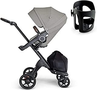 Stokke Xplory V6 Silver Chassis Stroller with Brown Leatherette Handle, Brushed Grey with Black Cup Holder