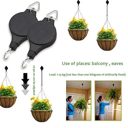 Einziehbarer Blumenkorbhaken Pflanzenrolle Verstellbarer Kleiderbügelhaken für Gartenkörbe Töpfe Birds Feeder Hängekorb Indoor Outdoor Dekoration