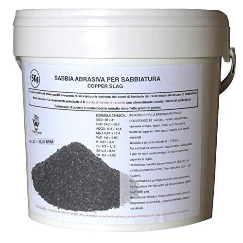Lordsworld - Loppa - 5 Chilogrammi 0,2-0,8 Polen Sabbia Abrasiva Per Sabbiatura - Sabbia Abrasiva Per Sverniciatura - Scorie Di Rame - 5 Chilogrammi-Polen-02-08