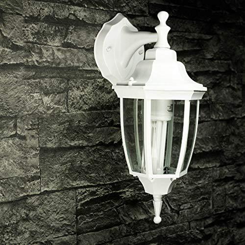 *Rustikale Wandleuchte in weiß-grau matt inkl. 1x 12W E27 LED Wandlampe aus Aluminium Glas für Garten Terrasse Weg Lampen Leuchte außen Beleuchtung*