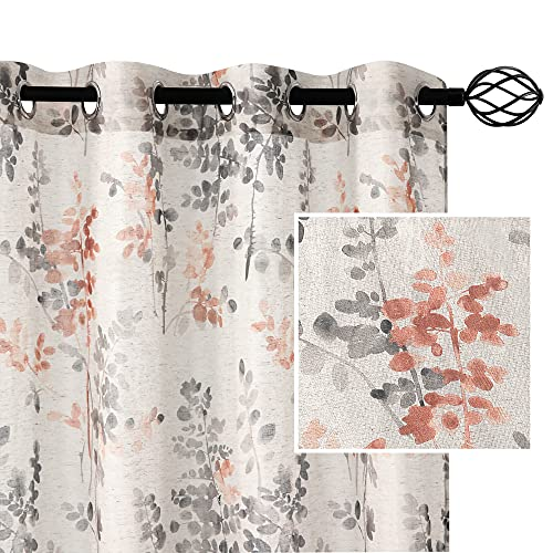 H.VERSAILTEX Sheer Linen Curtains 95 Inch Long Semi Sheer Curtains Draperies for Living Room/Bedroom Grey and Coral Vintage Classical Floral Printing Window Treatment Grommet 2 Panels