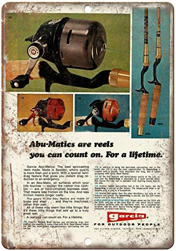 "Decorative Vintage Retro Metal Sign Garcia Fishing Reel Abu-Matics Vintage Ad - 10'"" X 7"" Metal Tin Sign 12 X 18 Inches"