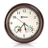 GEEVON Wall Clock Non Ticking 12 Inch with Hygrometer and Thermometer Combo,Battery Operated Quartz Decorative Large Wall Clocks for Home,Living Room,Office,Classroom,Kitchen,Bedroom Wall Decor
