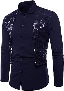 HJHK Men's Shirt Long Sleeve Slim fit Kent Collar Modern Sequin Patchwork Men's Shirt Business Casual Elegant Men's Shirts...