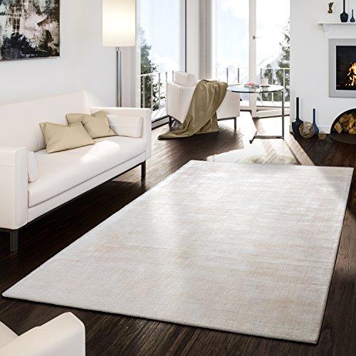 T&T Design Teppich Handgetuftet Modern Qualität Edel Viskose Garn Schimmer Glanz Creme, Größe:80x150 cm