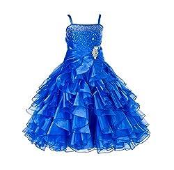 Royal Blue Rhinestone Organza Layer Flower Girl Dresses