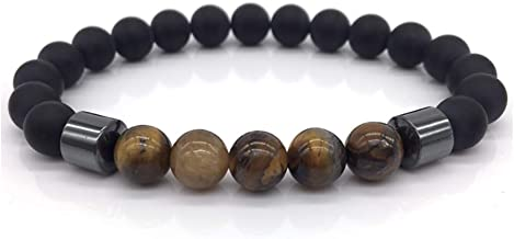 Pollero Healing Hematite Bead Bracelet - Anti Anxiety Bracelet with Natural Black Lava Stones with Smooth Tiger Eye Stone Beads - Suitable for Rosary Prayer Bracelets and Meditation Bracelets