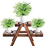 Wooden Plant Stand Indoor, 2 Tier Plant Shelf for Multiple Plants, Flower Pot Holder Display Rack for LivingRoom Balcony Outdoor Garden