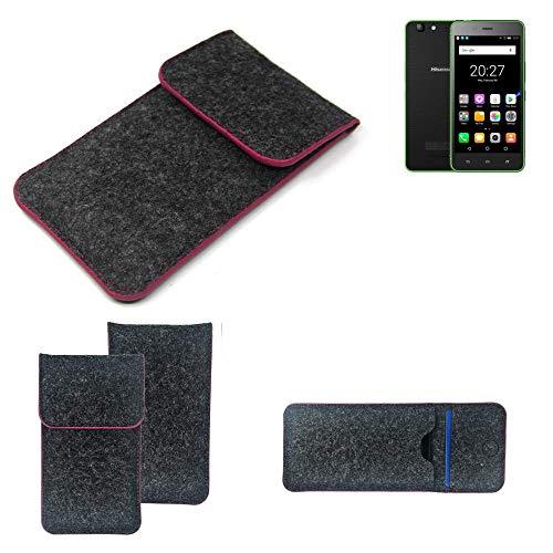 K-S-Trade® Filz Schutz Hülle Für Hisense Rock Lite Schutzhülle Filztasche Pouch Tasche Case Sleeve Handyhülle Filzhülle Dunkelgrau Rosa Rand
