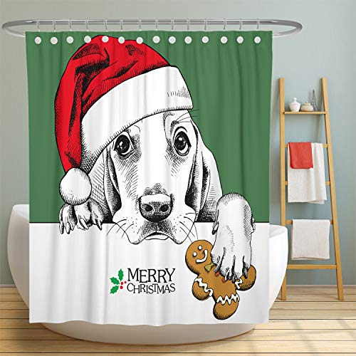 MuaToo Christmas Shower Curtain Dog Basset Hound Portrait in Red Santa's Hat Polyester Fabric Bathroom Decor Sets with Hooks, Bathroom Curtain 72 x72 Inches, Green Basset Hound Dog Portrait