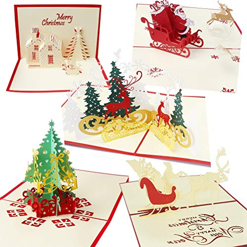nuoshen 5 Pcs Christmas Card, 3D Greeting Card for Xmas New Year