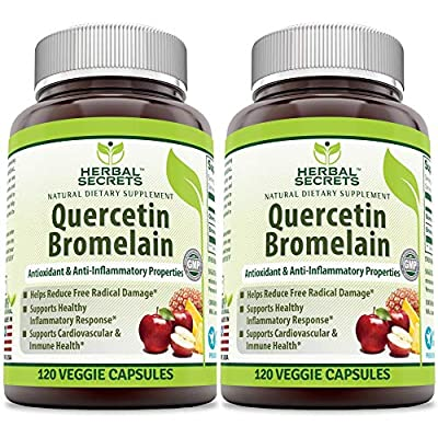 Herbal Secrets Quercetin 800 Mg with Bromelain 165 Mg, 120 Veggie Capsules (Non-GMO) - Supports Cardiovascular & Immune Health * Supports Healthy inflammatory Response *(2 Pack)