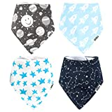 Stadela 100% Cotton Adjustable Baby Bandana Drool Bibs for Drooling Teething Nursery Burp Cloths 4 Pack Baby Shower Gift Set for Boy Space Adventure Rocket Planet Solar System Star Astronaut Galaxy