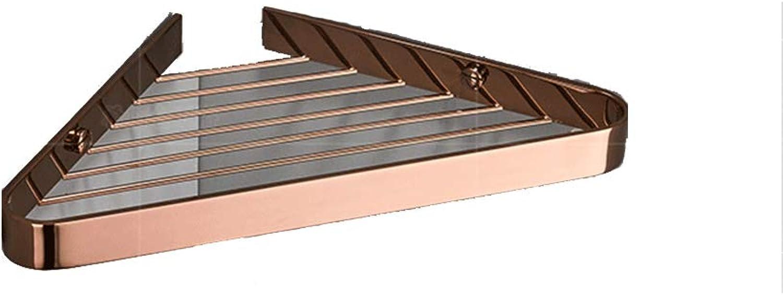 ZHXY Bathroom Shelf Wall-Mounted Copper Solid Tripod Basket 31  22  2.5cm,pinkgold,A