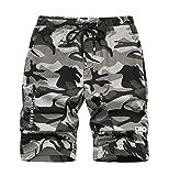 YoungSoul Jungen Shorts Camouflage Tarnhose Sommer Bermudas Kinder Kurze Hosen mit Gummizug Grau 158-164/Größe 170