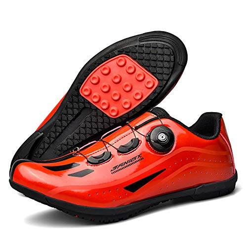 KUXUAN Calzado de Ciclismo para Hombre,Suelas de Carrera en Carretera Calzado de Ciclismo de Montaña Ciclismo Deporte Zapatillas de Ciclismo Atléticas Transpirables MTB,Red-39