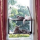L.S Katzen Hängematten Fensterplatz Fenster Betten Katzenbett Bis zu 25kg Stabiler Metallrahmen Weiche Matten Katzenhängematte Sofas (Doppelt, Grau)  *