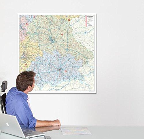BACHER Postleitzahlenkarte Bayern Maßstab 1:350 000, Papierkarte gerollt: Die Postleitzahlenkarte Bayern beinhaltet 1- und 2-stellige Postleitgrenzen ... Ortsteile mit der Sterndarstellung.