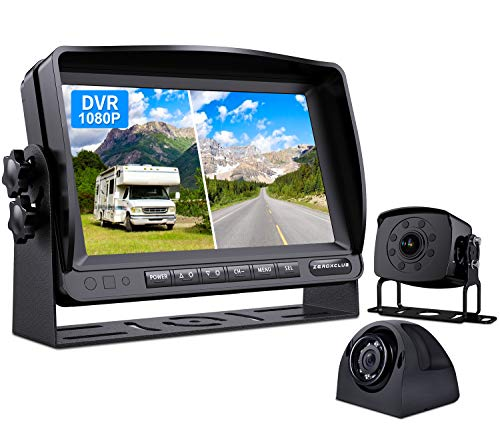 ZEROXCLUB Wired Backup Camera for Truck RV Trailer, FHD 1080p 7-inch Monitor with 2 Camera for Watching Blind Spot of Back and Side,for Long Vehicle Bus Lorry 5th Wheel (BC02)