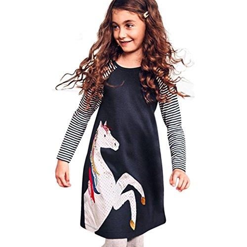 Amlaiworld frühling Sommer bunt Pferd drucken Kleid Mädchen gestreift Langarm Kleider Baby niedlich Mode süße Kleidung, 0-6 Jahren (6 Jahren, A - A)