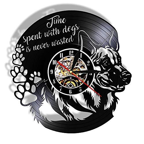 Tijd doorgebracht met hond is nooit verspild Puppy portret Vintage Wall Art Vinyl Reord muur klok hond citaat Home Decor hondenliefhebbers Gift-Without_LED