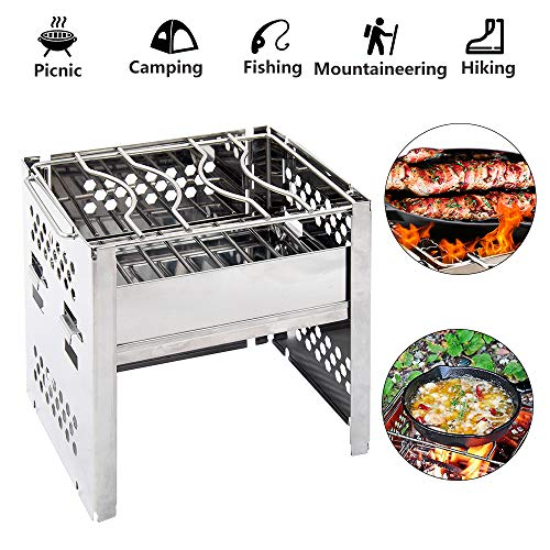 CestMall Camping Stove, hout brandende kachels met Grill Grid Potable Folding roestvrij staal Compact Ontwerp Perfect voor Outdoor picknick, BBQ, Survival, Camping, Jacht & Spoedeisende Voorbereiding