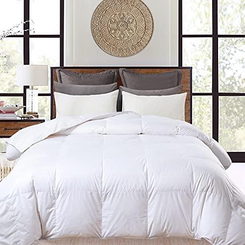 Daunen-Steppdecke mit 100 % Baumwollbezug – maschinenwaschbar, Ganzjahres-Daunendecke / freistehendes Bett – weiß, King-Size-Bett 277 x 228 cm